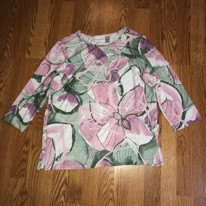 Floral Rhinestone Alfred Dunner 3/4 Length Top M